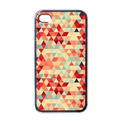 Modern Hipster Triangle Pattern Red Blue Beige Apple Iphone 4 Case (black) by EDDArt