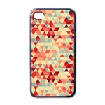 Modern Hipster Triangle Pattern Red Blue Beige Apple iPhone 4 Case (Black)