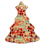 Modern Hipster Triangle Pattern Red Blue Beige Ornament (Christmas Tree)