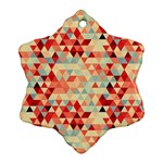 Modern Hipster Triangle Pattern Red Blue Beige Snowflake Ornament (2-Side)
