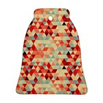 Modern Hipster Triangle Pattern Red Blue Beige Bell Ornament (2 Sides)