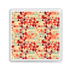 Modern Hipster Triangle Pattern Red Blue Beige Memory Card Reader (square)  by EDDArt