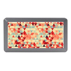 Modern Hipster Triangle Pattern Red Blue Beige Memory Card Reader (mini) by EDDArt