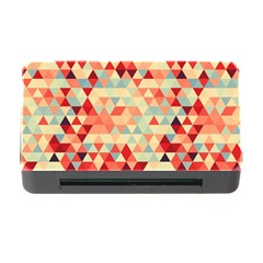 Modern Hipster Triangle Pattern Red Blue Beige Memory Card Reader With Cf by EDDArt