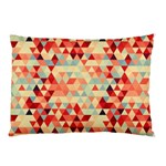 Modern Hipster Triangle Pattern Red Blue Beige Pillow Case (Two Sides)