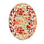 Modern Hipster Triangle Pattern Red Blue Beige Ornament (Oval Filigree)
