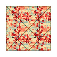 Modern Hipster Triangle Pattern Red Blue Beige Acrylic Tangram Puzzle (6  X 6 ) by EDDArt