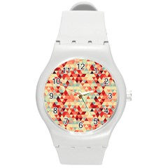 Modern Hipster Triangle Pattern Red Blue Beige Round Plastic Sport Watch (m) by EDDArt
