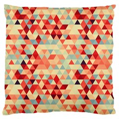 Modern Hipster Triangle Pattern Red Blue Beige Large Cushion Case (one Side) by EDDArt
