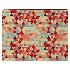 Modern Hipster Triangle Pattern Red Blue Beige Cosmetic Bag (xxxl)  by EDDArt