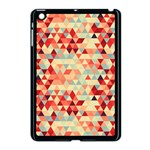 Modern Hipster Triangle Pattern Red Blue Beige Apple iPad Mini Case (Black)