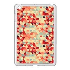 Modern Hipster Triangle Pattern Red Blue Beige Apple Ipad Mini Case (white) by EDDArt