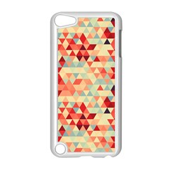 Modern Hipster Triangle Pattern Red Blue Beige Apple Ipod Touch 5 Case (white) by EDDArt