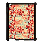 Modern Hipster Triangle Pattern Red Blue Beige Apple iPad 3/4 Case (Black)