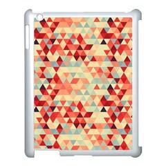 Modern Hipster Triangle Pattern Red Blue Beige Apple Ipad 3/4 Case (white) by EDDArt