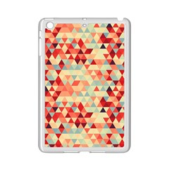 Modern Hipster Triangle Pattern Red Blue Beige Ipad Mini 2 Enamel Coated Cases by EDDArt