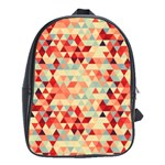 Modern Hipster Triangle Pattern Red Blue Beige School Bags (XL)