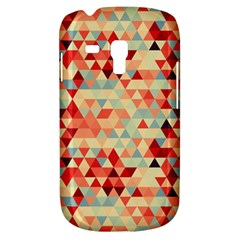 Modern Hipster Triangle Pattern Red Blue Beige Samsung Galaxy S3 Mini I8190 Hardshell Case by EDDArt