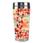 Modern Hipster Triangle Pattern Red Blue Beige Stainless Steel Travel Tumblers