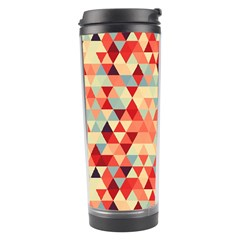 Modern Hipster Triangle Pattern Red Blue Beige Travel Tumbler by EDDArt