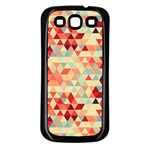 Modern Hipster Triangle Pattern Red Blue Beige Samsung Galaxy S3 Back Case (Black)