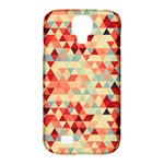 Modern Hipster Triangle Pattern Red Blue Beige Samsung Galaxy S4 Classic Hardshell Case (PC+Silicone)