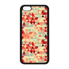 Modern Hipster Triangle Pattern Red Blue Beige Apple Iphone 5c Seamless Case (black) by EDDArt