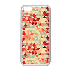 Modern Hipster Triangle Pattern Red Blue Beige Apple Iphone 5c Seamless Case (white) by EDDArt