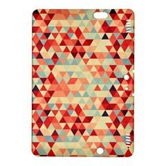 Modern Hipster Triangle Pattern Red Blue Beige Kindle Fire Hdx 8 9  Hardshell Case by EDDArt