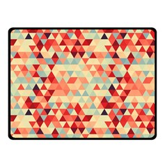 Modern Hipster Triangle Pattern Red Blue Beige Double Sided Fleece Blanket (small)  by EDDArt