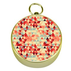 Modern Hipster Triangle Pattern Red Blue Beige Gold Compasses by EDDArt