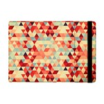 Modern Hipster Triangle Pattern Red Blue Beige iPad Mini 2 Flip Cases