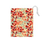 Modern Hipster Triangle Pattern Red Blue Beige Drawstring Pouches (Medium)