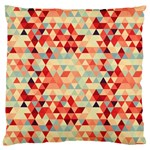 Modern Hipster Triangle Pattern Red Blue Beige Large Flano Cushion Case (Two Sides)