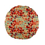 Modern Hipster Triangle Pattern Red Blue Beige Standard 15  Premium Flano Round Cushions