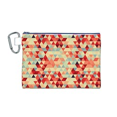 Modern Hipster Triangle Pattern Red Blue Beige Canvas Cosmetic Bag (m) by EDDArt