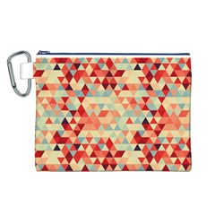 Modern Hipster Triangle Pattern Red Blue Beige Canvas Cosmetic Bag (l) by EDDArt