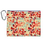 Modern Hipster Triangle Pattern Red Blue Beige Canvas Cosmetic Bag (XL)