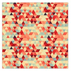 Modern Hipster Triangle Pattern Red Blue Beige Large Satin Scarf (square) by EDDArt