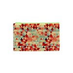 Modern Hipster Triangle Pattern Red Blue Beige Cosmetic Bag (XS)