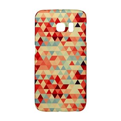 Modern Hipster Triangle Pattern Red Blue Beige Galaxy S6 Edge by EDDArt