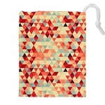 Modern Hipster Triangle Pattern Red Blue Beige Drawstring Pouches (XXL)