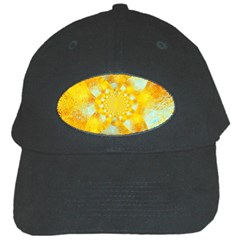 Gold Blue Abstract Blossom Black Cap by designworld65