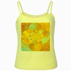 Gold Blue Abstract Blossom Yellow Spaghetti Tank by designworld65