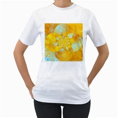Gold Blue Abstract Blossom Women s T Shirt (white) (two Sided) by designworld65