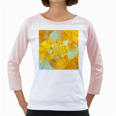 Gold Blue Abstract Blossom Girly Raglans by designworld65