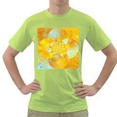 Gold Blue Abstract Blossom Green T Shirt by designworld65