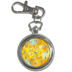 Gold Blue Abstract Blossom Key Chain Watches by designworld65