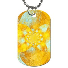 Gold Blue Abstract Blossom Dog Tag (two Sides) by designworld65
