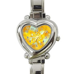 Gold Blue Abstract Blossom Heart Italian Charm Watch by designworld65